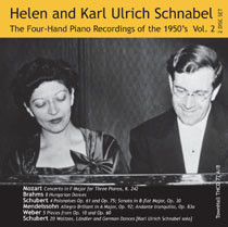 Helen and Karl Ulrich Schnabel: ONE PIANO, FOUR HANDS, THE 1950's RECORDINGS Vol. 2; 2 CD set with Mozart K. 242, Brahms 8 Hungarian Dances; Schubert: 4 Polonaises; Mendelssohn: Op. 30; Weber: 5 Pieces from Op. 60. chubert: 20 German Dances.