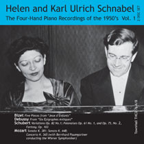 ONE PIANO, FOUR HANDS, THE 1950's RECORDINGS Vol. 1 # THCD-76 Karl Ulrich Schnabel Helen Schnabel, piano THCD 76 A Total Time: 56:58 All tracks feature Helen and Karl Ulrich Schnabel as performers  THCD 76B Total Time: 72:31 Tracks 1 – 4 feature Helen and Karl Ulrich Schnabel as performers Tracks 5 – 10 feature Helen and Karl Ulrich Schnabel at two pianos with Orchestra under Bernhard Paumgartner, Conductor