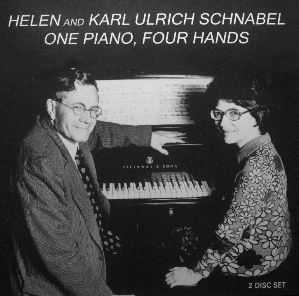 One Piano, Four Hands # THCD-19 Karl Ulrich Schnabel Helen Schnabel, piano The Schnabel fourhand duo performed with great success all across America and Europe. They were known to truly play as one. On this 2-CD set a selection of their eclectic repertoire is presented encompassing such diverse composers as Wolfgang Amadeus Mozart, Antonin Dvorak, Carl Maria von Weber, Franz Schubert, Georges Bizet, Felix Mendelssohn, and Johannes Brahms.
