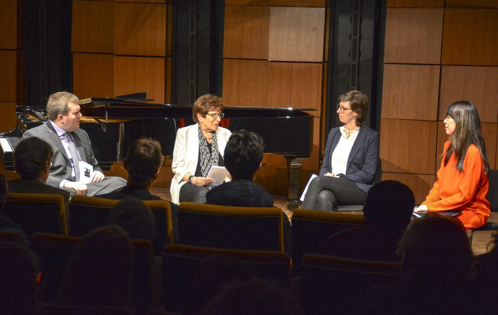 Podium discussion moderated by David Plylar (left) with Ann Schnabel Mottier, Britta Matterne, and Jenny Lin.