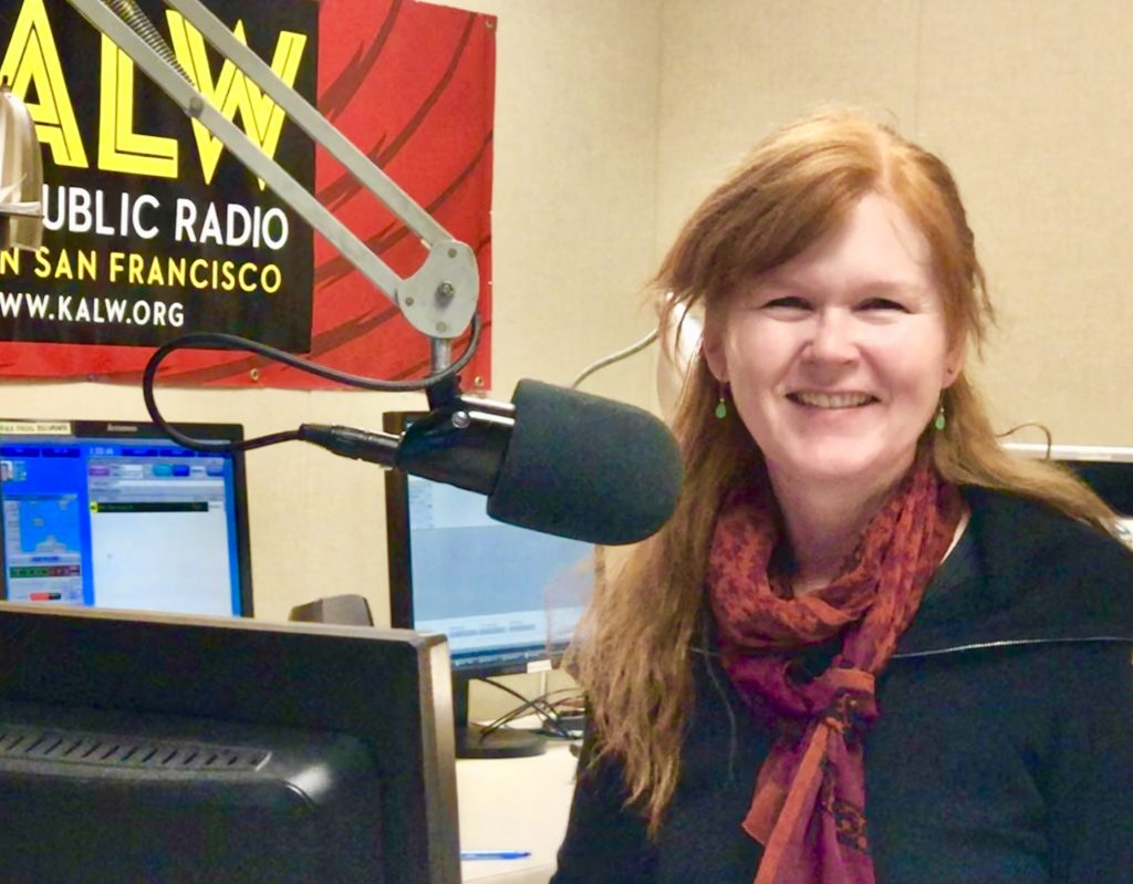 Sarah Cahill at the microphone of KALW in San Francisco